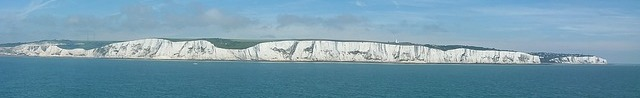 A view of the white cliffs along the Kent coast
